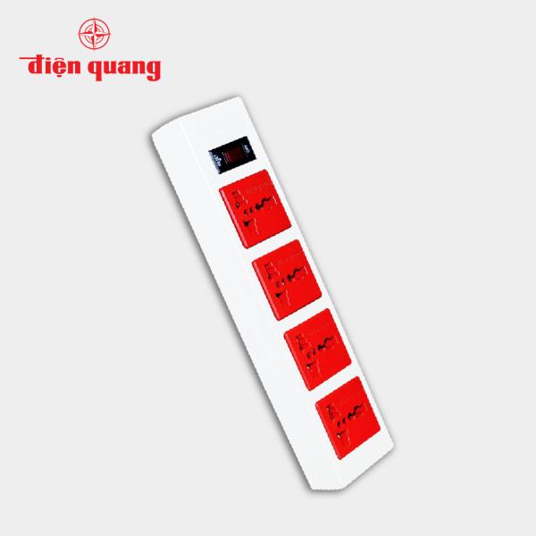 Ổ cắm Điện Quang ECO ĐQ ESK 2WR 43ECO (4 Lỗ 3 chấu, dây dài 2m, màu trắng đỏ) giá rẻ