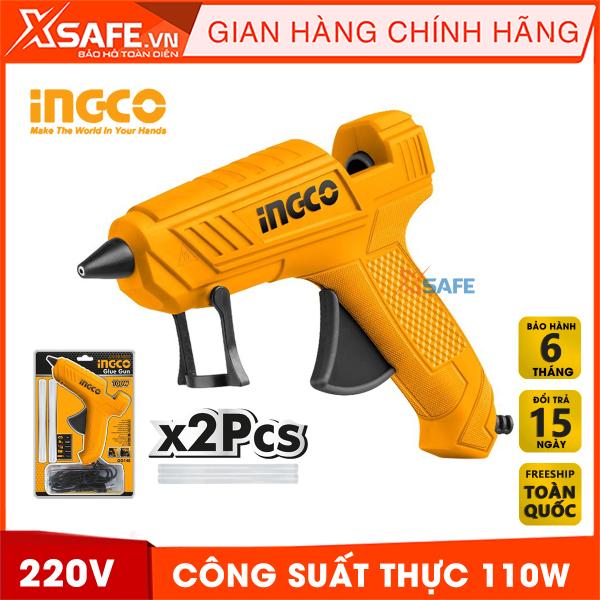 Súng bắn keo nến INGCO GG148 100W 220V tặng kèm theo 2 cây keo 11.2mm. Súng bơm nến keo cầm tay mini khả năng bơm 13-18g/min , đường kính keo dính 12.2mm, Lý tưởng cho việc kết dính, tạo mô hình, sửa chữa, niêm phong - Chính hãng XSAFE