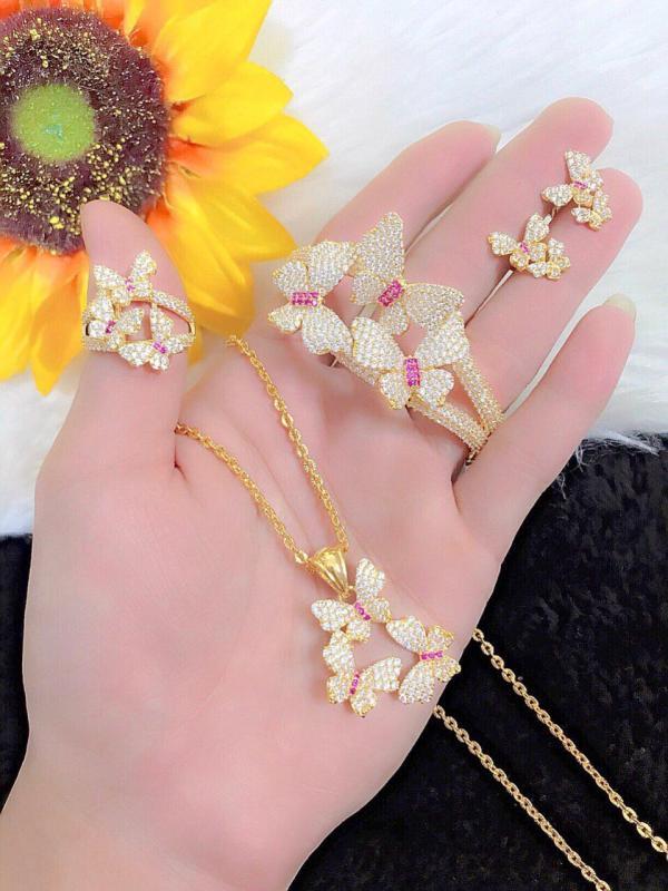 [ RẺ VÔ ĐỊCH ] Bộ trang sức vàng 18k, bộ trang sức nữ bướm hoàng gia dát đá pha lê sáng lung linh chạm đá pha lê hồng siêu xinh xắn thiết kế tinh tế thời trang Trang sức Gadoshop VB416091904 - dùng đi tiệc cực kì sang chảnh