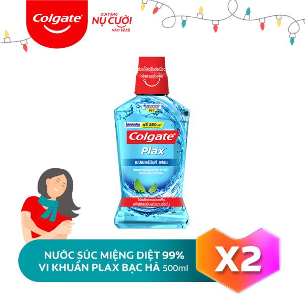 Bộ đôi nước súc miệng Colgate diệt 99% vi khuẩn Plax bạc hà 500ml/chai