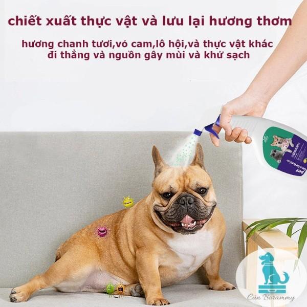Xịt khử mùi cho thú cưng - xịt khử mùi cho chó mèo Borammy 500ml nước hoa thú cưng diệt khuẩn môi trường, khử mùi hôi cát mèo và mùi hôi chuồng trại
