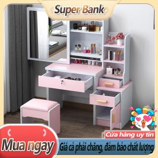 Bàn trang điểm bắc âu ngăn kéo lệch thời trang đơn giản hiện đại tủ lưu trữ đa năng Bàn trang điểm đơn giản bằng gỗ thumbnail