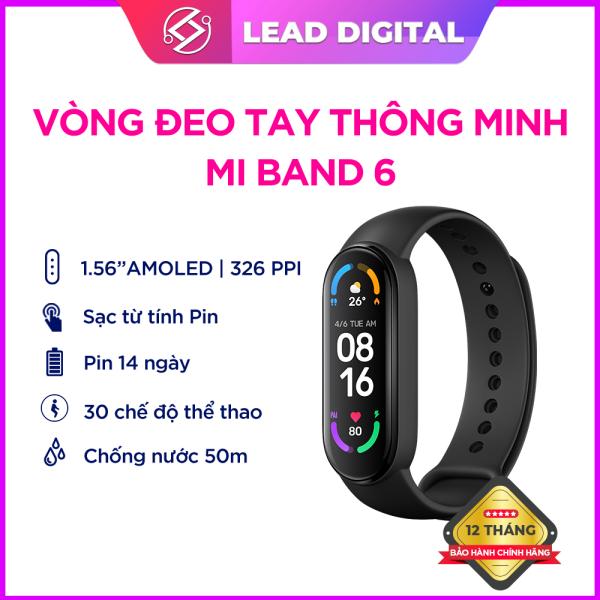 Vòng đeo tay thông minh Xiaomi Mi Band  6 - Màn hình AMOLED 1.56   Thời gian sử dụng đến 14 ngày   Chống nước 5ATM   Theo dõi sức khỏe   30 chế độ bài tập thể thao   kết nối Bluetooth 5.0 - BH Chính hãng 12 tháng