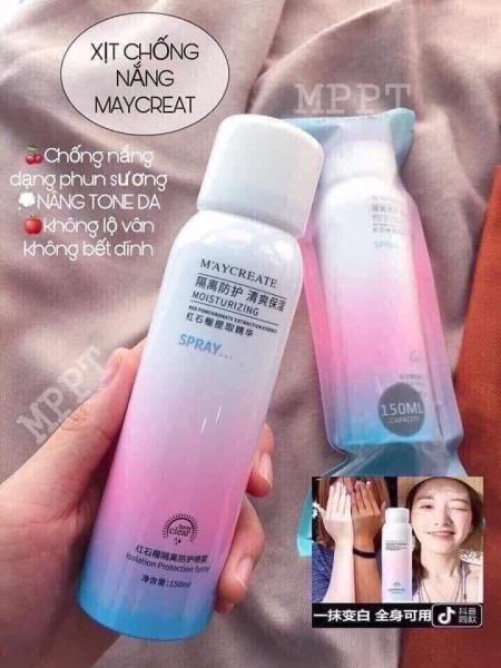 Xịt chống nắng MayCreate nâng tone,chống nước 150ML- Tươi Shop