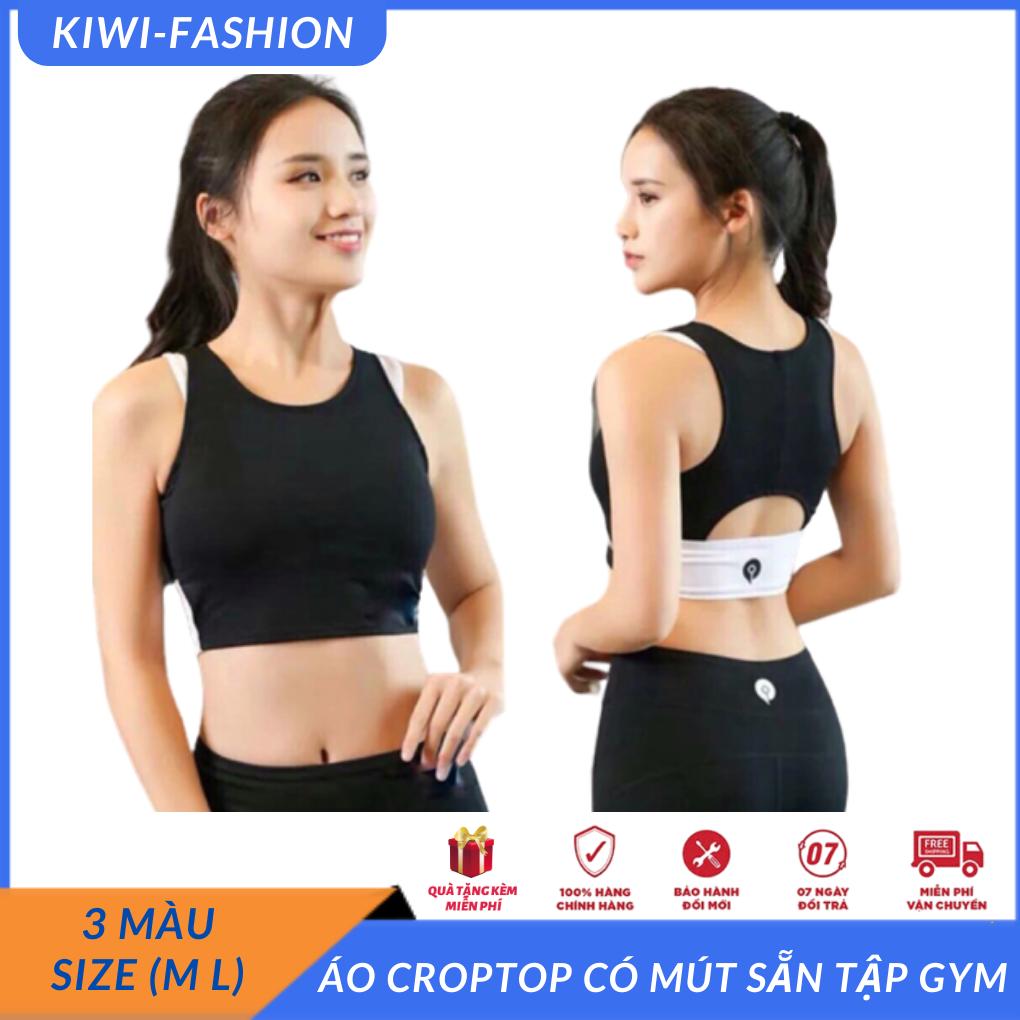 áo tập có bra phối màu cực chất phối tay viền màu, đồ tập gym yoga giá rẻ tphcm-CR099