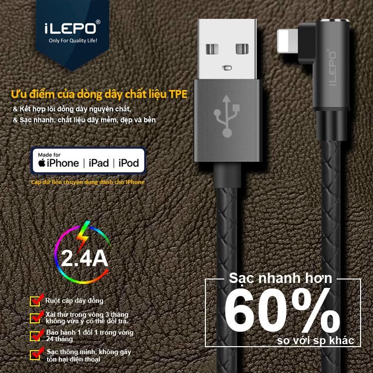 Cáp Sạc Iphone Lightning 2.4A (Powerline) 1m2 Dành Cho Game Thủ Với Dây Bọc nhựa TPE cao cấp iLEPO iL08 Iphone