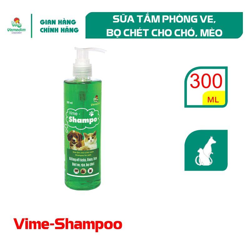 Vemedim Vime Shampo, sữa tắm phòng ve, rận, bọ chét cho chó, mèo, chai trong 300ml