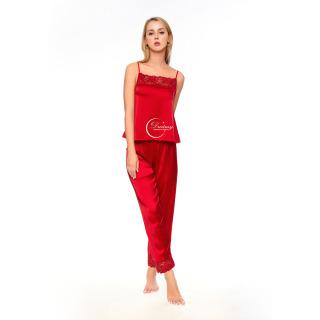Dreamy - DD02 Đồ bộ ngủ lụa cao cấp dáng dài rối viền ren quyến rũ, sang trọng, đồ bộ ngủ hai dây, đồ bộ ngủ gợi cảm, đồ bộ ngủ phối ren, đồ bộ mặc nhà mát mẻ, màu đỏ đô thumbnail