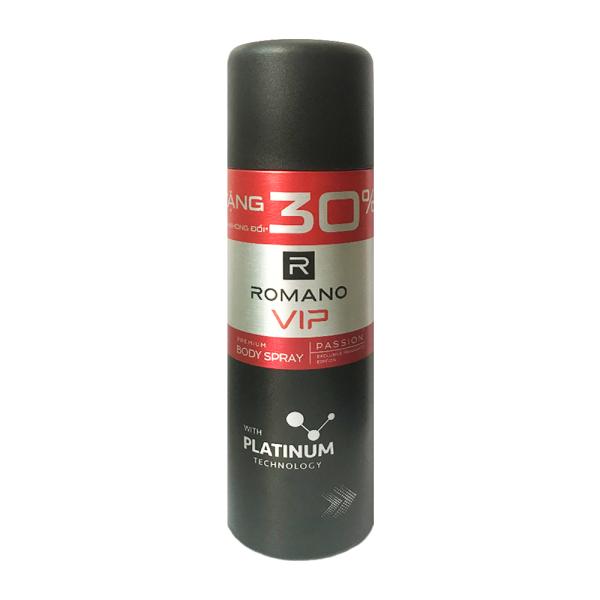 Xịt ngăn mùi nước hoa cao cấp Romano Vip Passion tặng 30% dung tích chai 195ml