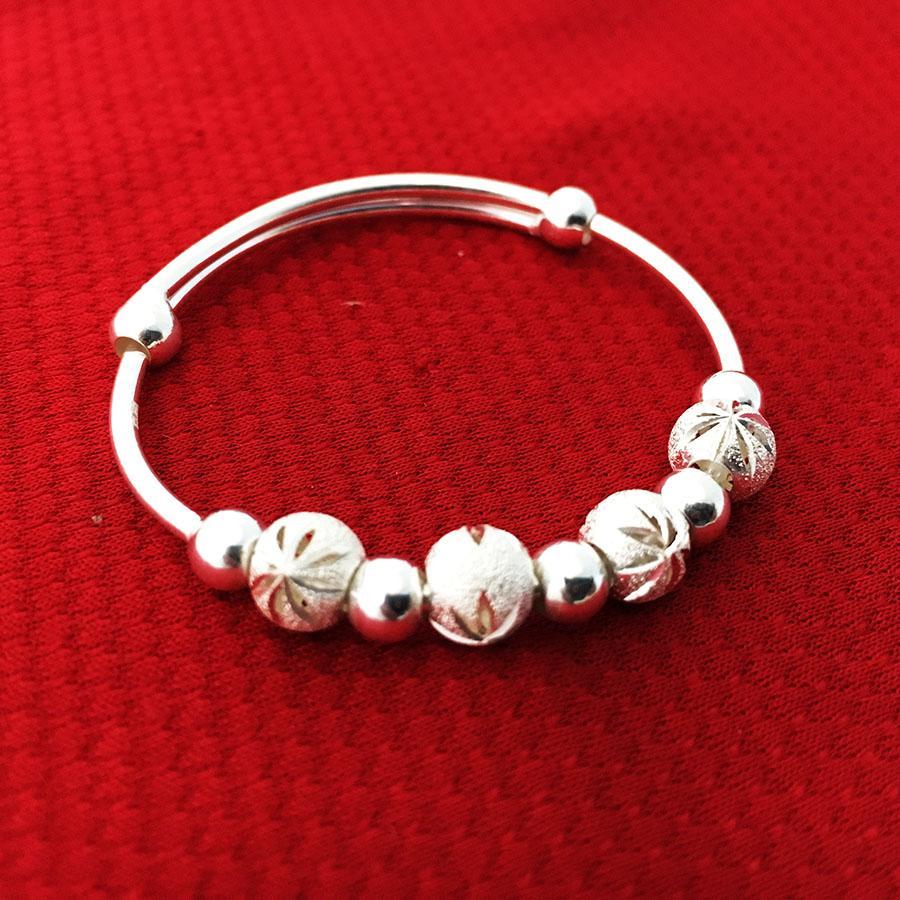 Giá bán Vòng tay trẻ con bi phay bạc ta cao cấp không xi mạ -  VTE8 -  trang sức Liên Minh (Bạc)