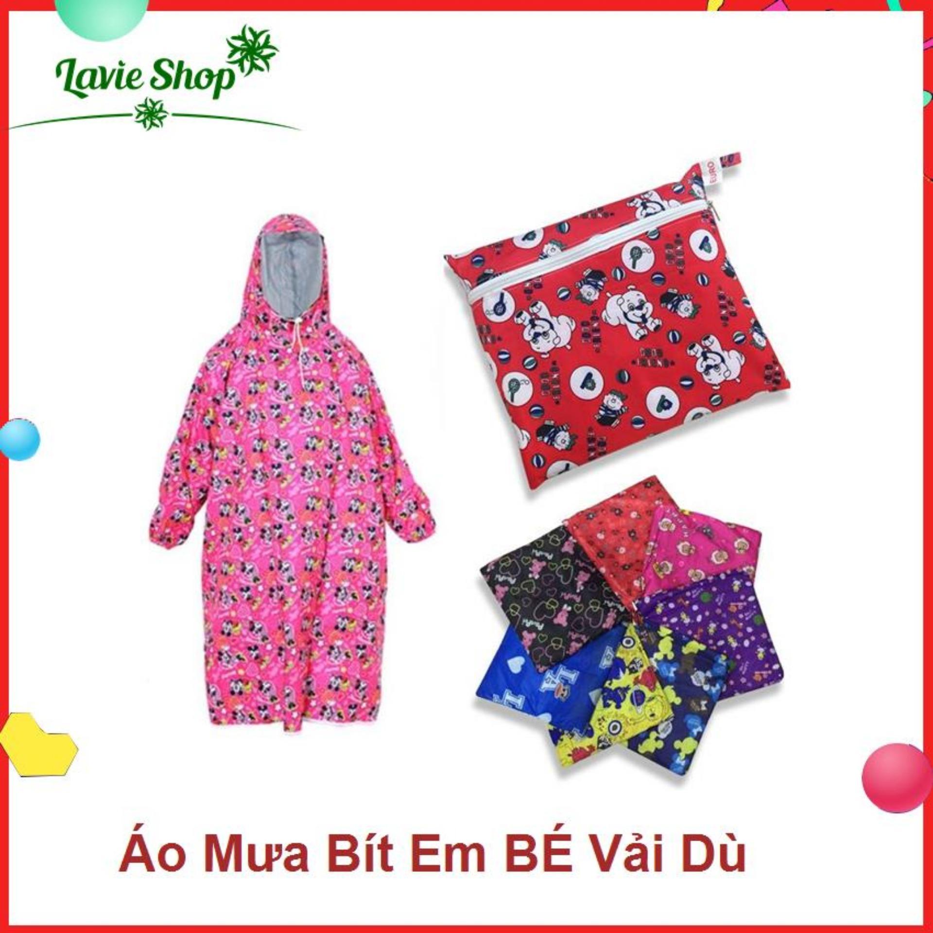 Áo mưa bít vải dù cho bé gái có chiều cao  từ 0.8m - 1.5m