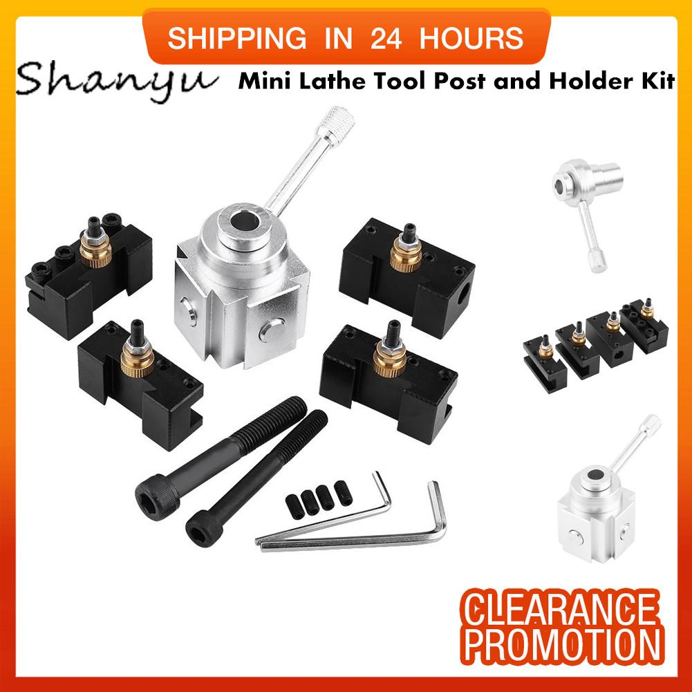 SHANYU Set of Aluminum Alloy Quick Change Mini Lathe Tool Post and Holder Kit