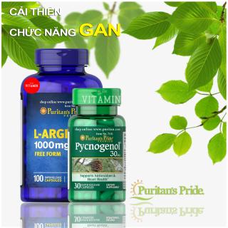 Combo sinh lực nam, giải độc gan, cải thiện chức năng gan, giảm rối loạn sinh lực, chống lão hóa, tốt cho tim mạch, vitamin mỹ Puritan s Pride L-Arginnine 1000mg 100 viên & Puritan s Pride Pycnogenol thumbnail