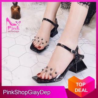 (Có mã miễn ship) Giày nữ, giày sandal cao gót đế vuông 5 phân quai trong đính hạt lên chân sang chảnh PinkShopGiayDep thumbnail