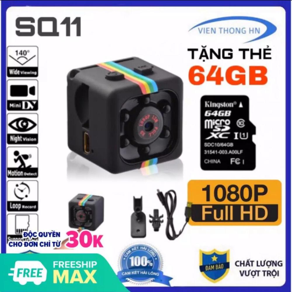 [TẶNG THẺ NHỚ 64GB] Camera mini siêu nhỏ hành trình xe máy phượt – camera sq11 full hd 1080p chống rung chống nước