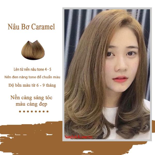 Thuốc nhuộm tóc màu Nâu Bơ – Nâu Caramel màu nhuộm lên chuẩn màu không sót da đầu
