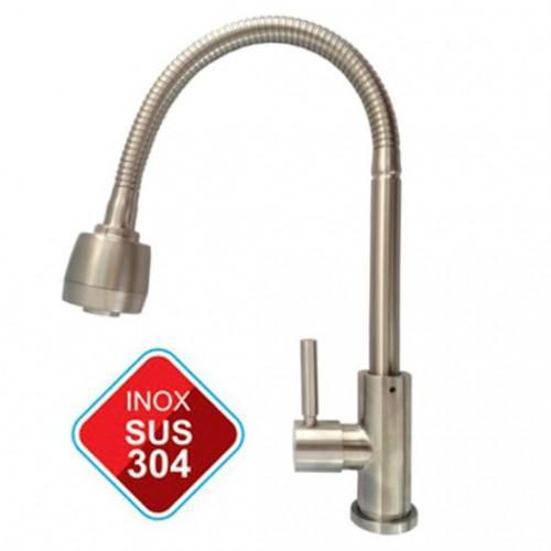 Vòi rửa chén lạnh inox SUS 304 ống lò xo hai chế độ nước