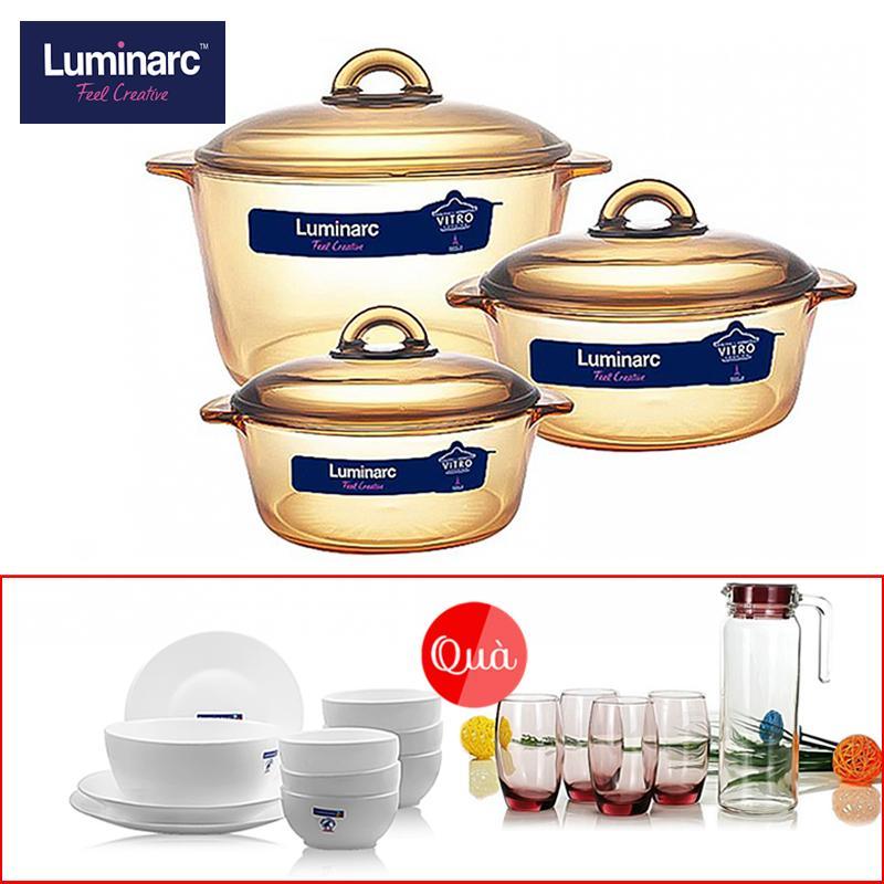 [tặng bộ bàn ăn 12 món và bình thủy tinh 5 món] Bộ 3 nồi thủy tinh Luminarc Amberline 1L.1,5L.3L