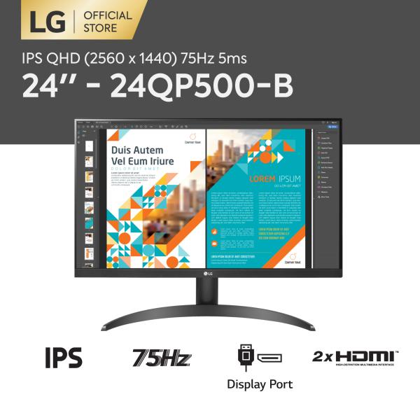 Bảng giá [TRẢ GÓP 0%] Màn hình LG QHD (2560 x 1440) 75Hz 5ms 24 inches l 24QP500-B l HÀNG CHÍNH HÃNG Phong Vũ
