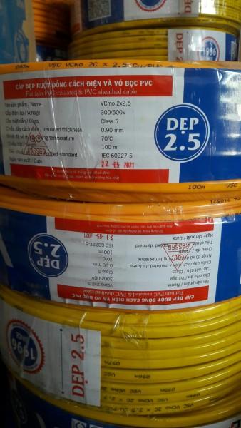[TẶNG BÚT ĐIỆN] dây điện đôi 2.5 Vĩnh Thịnh- cuộn 100 mét- dây đồng 100%, 2 Lớp vỏ Bọc Cách Điện An Toàn - Vcmo2x2.5 chịu tải cao