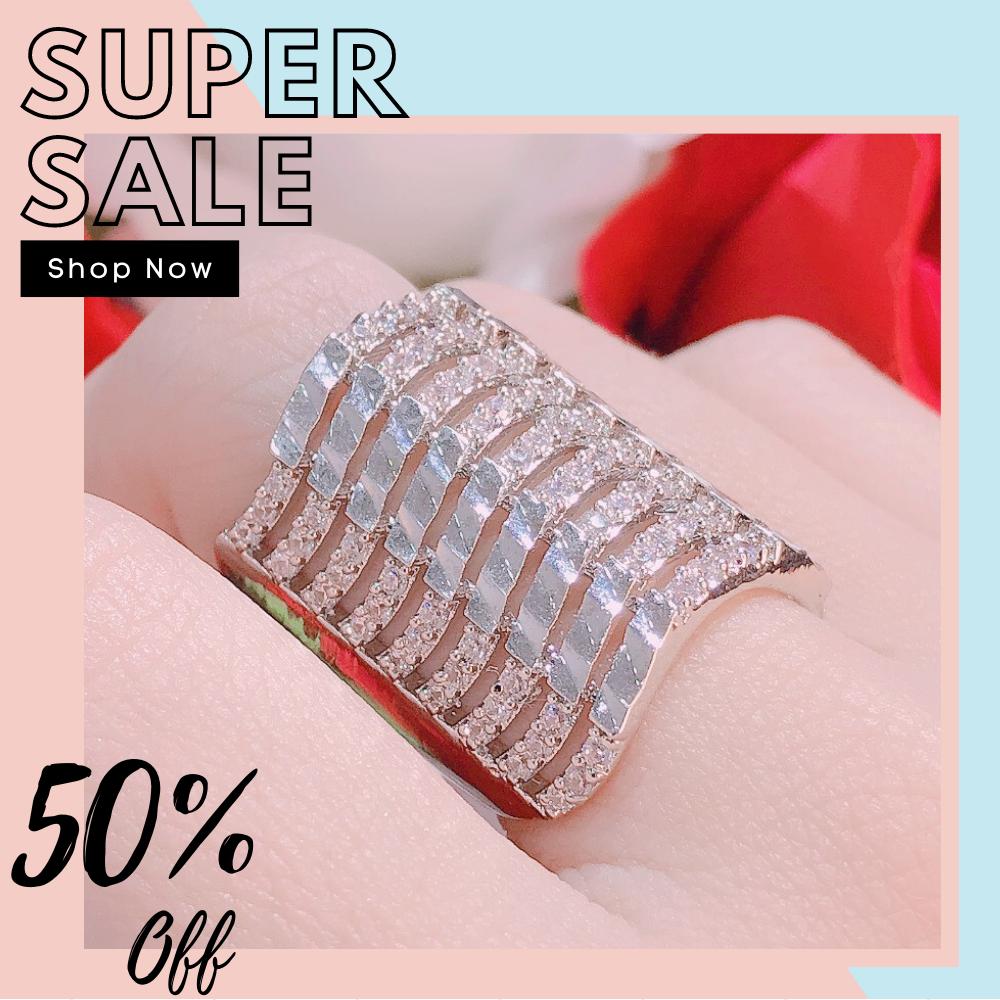 [HCM]Nhẫn nữ vàng trắng nhẫn nữ bạc ta mạ bạch kim cao cấp nhẫn sóng bản lớn đính đá pha lê  Trang Sức Miga N049 - thiết kế sang trọng đẳng cấp mang lại may mắn 1 ĐỔI 1  CAM KẾT KHÔNG ĐEN