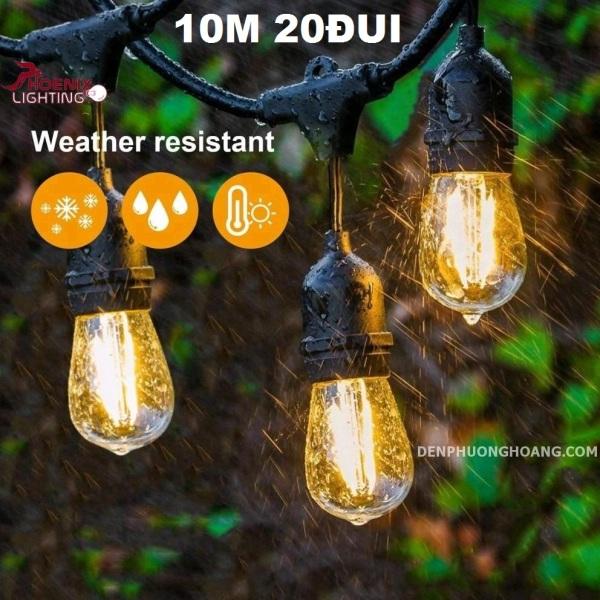 Dây đèn kín nước thả ngoài trời 10 mét 20 đui - E27