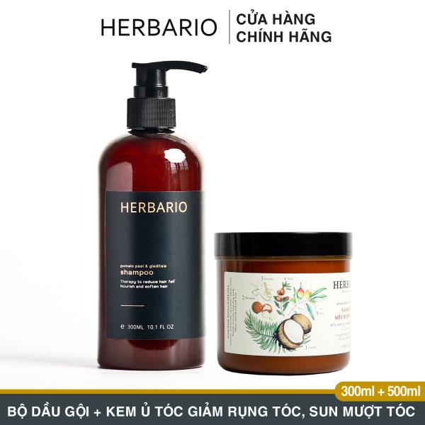Bộ Dầu Gội Bưởi và bồ kết 300ml + Kem ủ tóc Herbario 500ml giảm rụng tóc, cấp ẩm giúp mượt tóc
