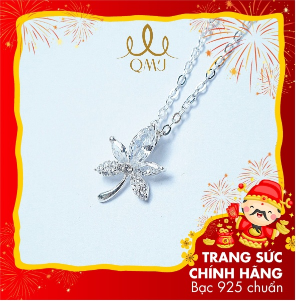 QMJ Dây chuyền bạc chiếc lá nạm đá phale thanh lịch với thiết kế hình lá phong mang đến nét trẻ trung, rạng ngời cho người đeo, vòng cổ thời trang nữ đẹp - Q064