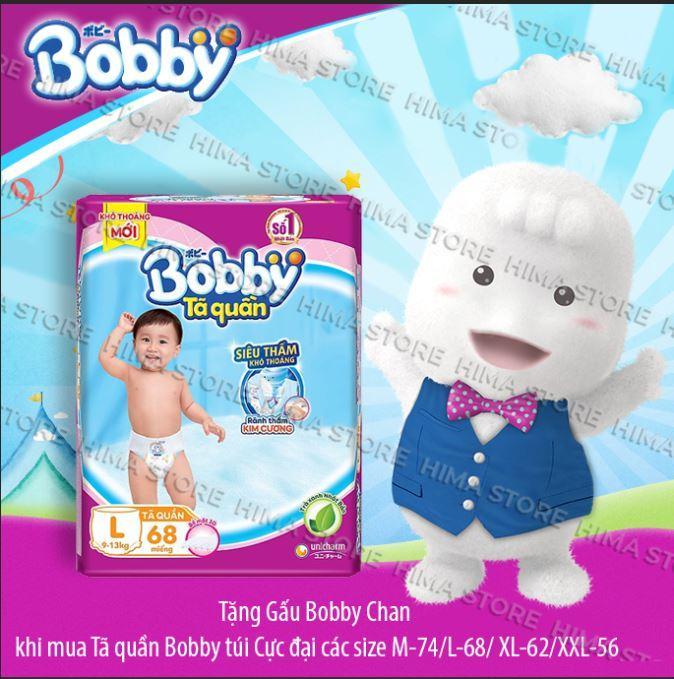 [Tặng kèm gấu Bobby Chan] Tã quần Bobby (hương trà xanh) gói siêu lớn L-68 miếng (9 – 13Kg) Nhật Bản