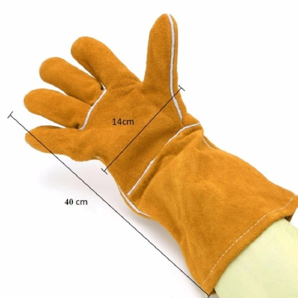 Găng tay da bò 40 cm bảo vệ bàn tay chống lại tia lửa hàn xì, thổi nóng, phụ kiện hàn que dùng cho thợ hàn bảo hộ lao động dài tay, độ bền cao, chống cắt, chống trầy xước, làm việc trong môi trường nhiệt độ cao SHUNI - 004GTD