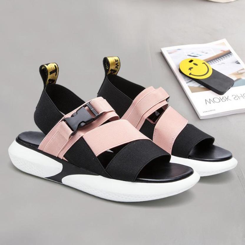 Sandal hai quai chéo khóa bấm hàn quốc - hai màu Đen và Hồng - TGS-0060 giá rẻ