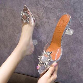sandal cao gót quai nhựa trong mica đính đá cực sang thumbnail