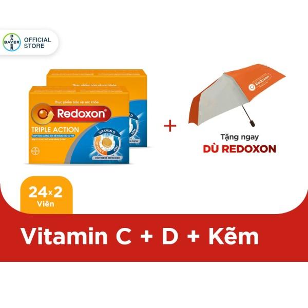 Combo 2 hộp Viên sủi bổ sung Vitamin C, D, và Kẽm Redoxon Triple Action hộp 24 viên - Tặng 1 dù Redoxon