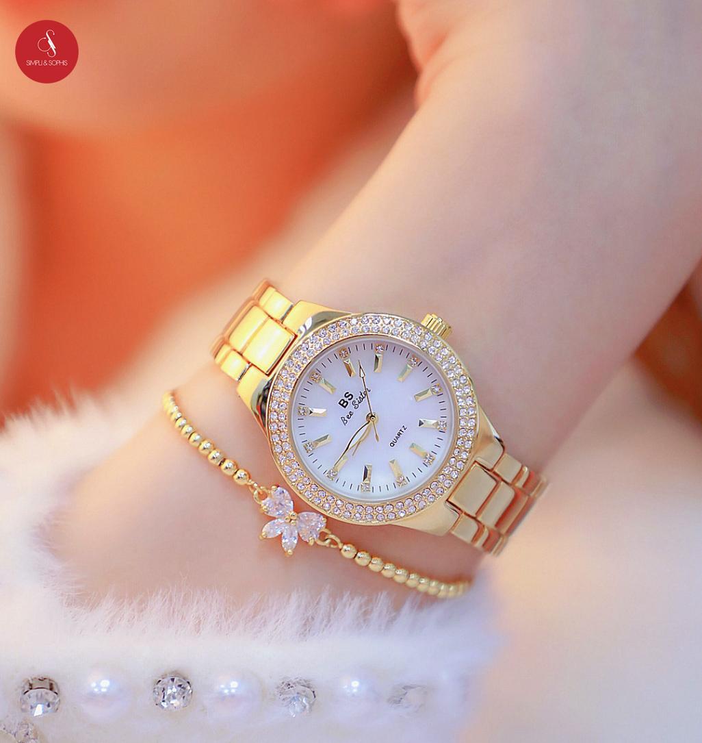 Đồng hồ nữ Bee sister 0301 cao cấp 32mm (Vàng/ Bạc/ Vàng hồng) + Tặng hộp đựng đồng hồ thời trang & Pin Nhật Bản