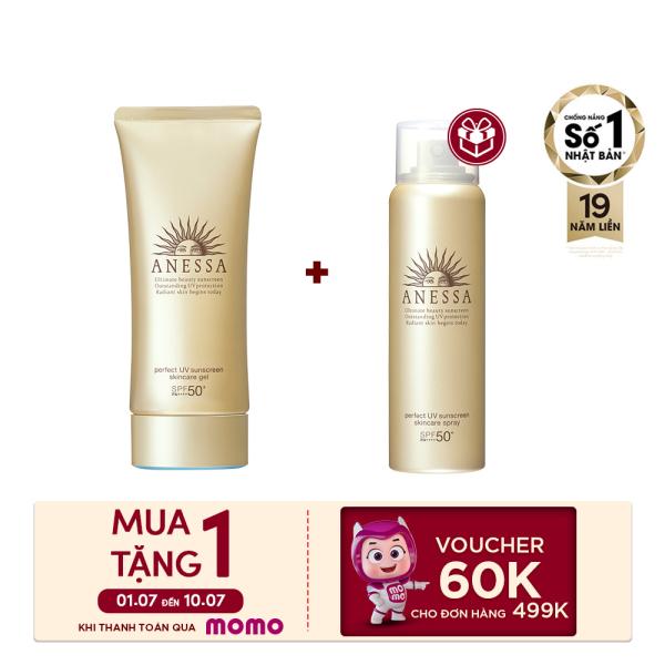 [Voucher MoMo 60k] Gel chống nắng dưỡng ẩm chuyên sâu bảo vệ hoàn hảo Anessa Perfect UV Sunscreen Skincare Gel - SPF50+ PA++++ - 90g