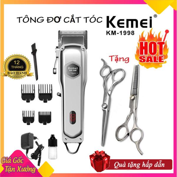 Tông đơ cắt tóc cao cấp Kemei 1998 thân nhôm nguyên khối, tăng đơ hớt tóc chuyên nghiệp không dây sạc pin đẳng cấp hơn tông đơ cắt tóc gia đình JC0817 (tong do cat toc), codol ch531 + Tặng kèm bộ kéo cắt tỉa tóc chuyên dụng cao cấp