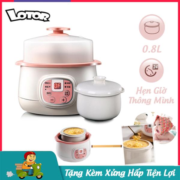 Nồi nấu cháo cho bé Lotor dung tích 0.8L, nồi nấu cháo chậm công suất 200W dùng được cho 2 người ăn- Bảo hành 12 tháng