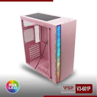Case Máy tính V3-601P có sẵn Led Rgb màu hồng kính cường lực, hông trong suốt cực đẹp hàng cao cấp, Vỏ Thùng máy tính mẫu mới bán chạy, Vỏ case cho máy tính siêu sang đẳng cấp thumbnail