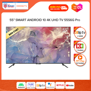 Smart TV Coocaa - model 55S6G PRO android 10.0 4K UHD 55 INCH YOUTUBE Netflix , Prime video - Tặng 1 tháng K+, 18 tháng FPT, 24 tháng Clip TV thumbnail