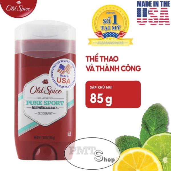 [USA] Lăn sáp khử mùi nam Old Spice Pure Sport đỏ 85g (sáp xanh trong) High Endurance - Mỹ
