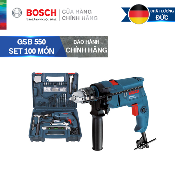Bộ máy khoan động lực cầm tay Bosch GSB 550 và bộ dụng cụ 100 chi tiết Bosch