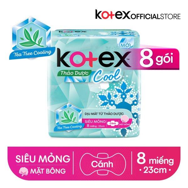 Combo 8 Gói BVS Kotex Thảo dược Cool dịu mát SMC 23cm (8 miếng/gói) cao cấp