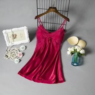 Váy Ngủ Hai Dây Hisexy.vn Lụa Satin Có Mút Ngực Phối Ren Đủ Size Dưới 62Kg MD02 thumbnail