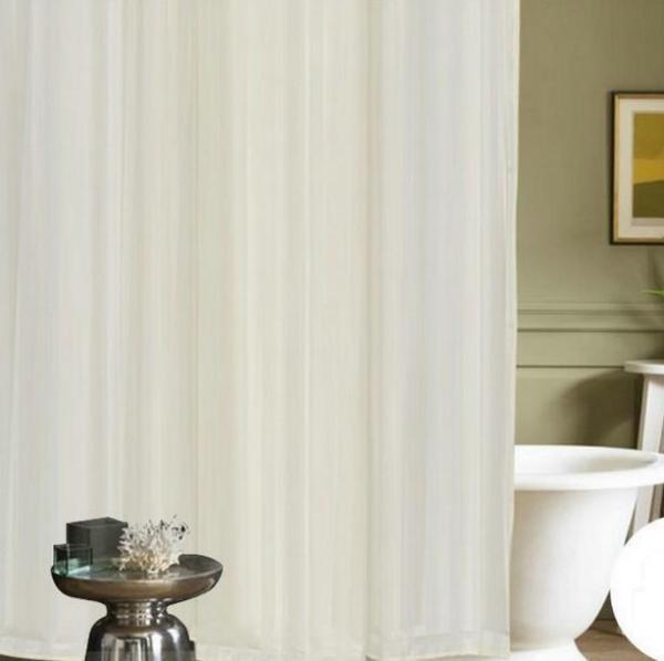Rèm phòng tắm chống nước 1.8m có kèm móc treo - sọc sáng màu vàng lợt