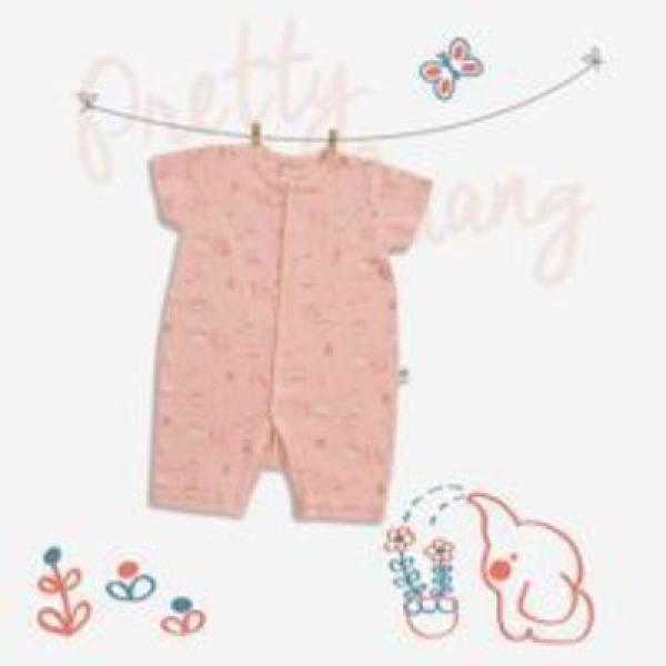 Nơi bán Bodysuit cúc giữa cho bé CHAANG garden hồng