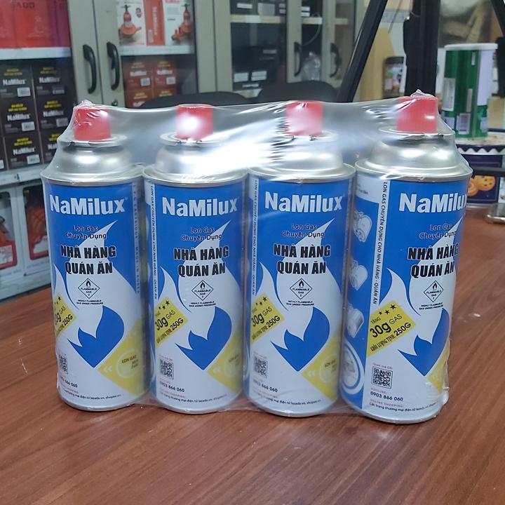 Offer Khuyến Mãi Bộ 4 Lon Gas Mini Du Lịch Namilux 250G/Lon Hàng Nguyên Đai,Vỏ Bình Chắc Chắn Đảm Bảo An Toàn Khi Sử Dụng
