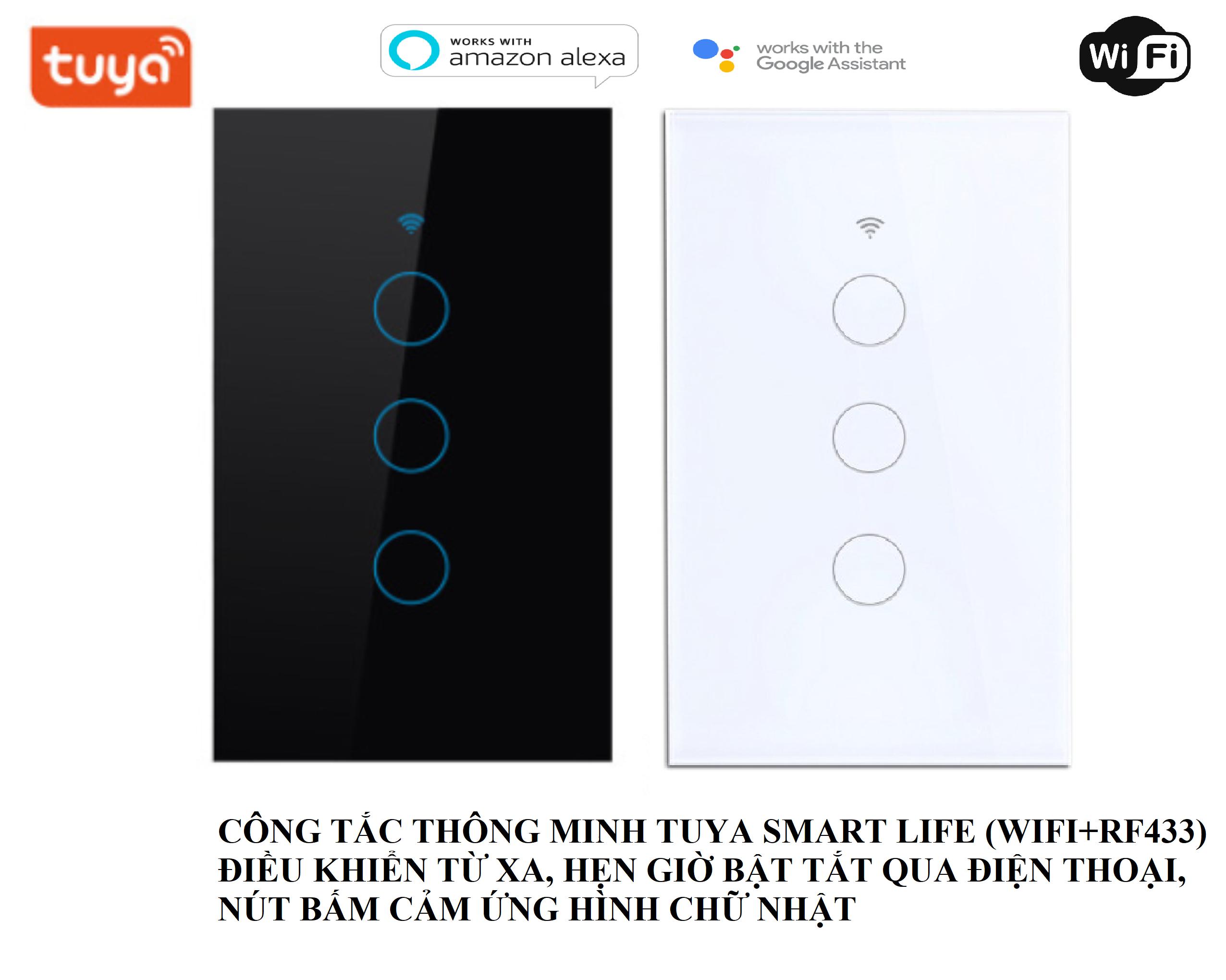 bh 6 tháng]Công Tắc Wifi+RF433 Tuya Smartlife 3 Nút Cảm Ứng Chữ Nhật Cao Cấp cho nhà thông minh | Lazada.vn