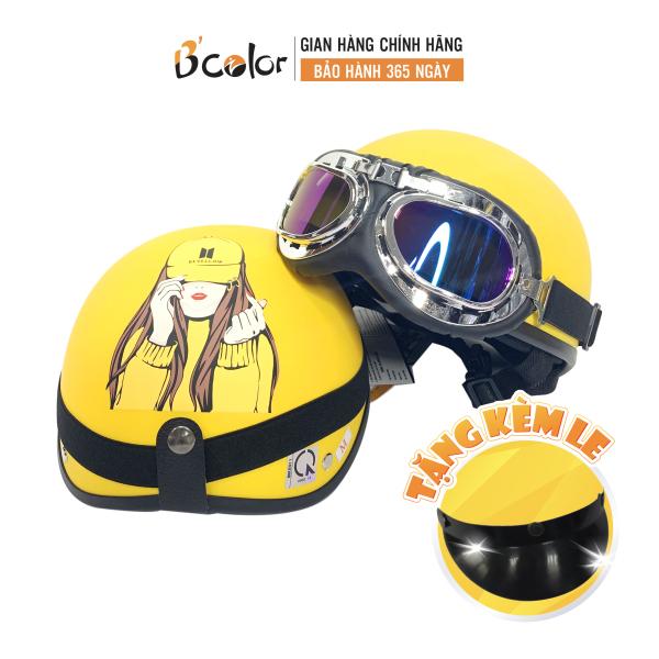 Giá bán Mũ Bảo Hiểm Màu Vàng Họa Tiết Hình Cô Gái Kính Thời Trang- BCOLOR