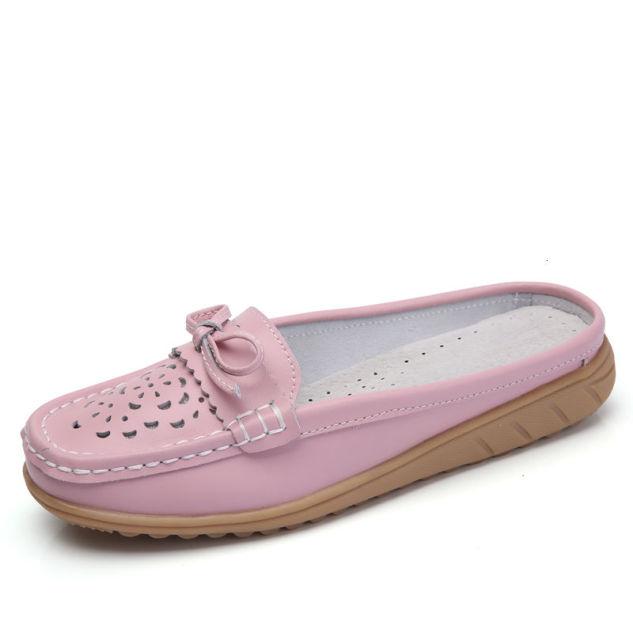 Mới 2020 Chắc Chắn Giày Sandal Nữ Mùa Hè Dép Xỏ Ngón Da Thật Chính Hãng Da Đế Bằng Nữ Slip On Đế Làm Tắc Con La Giày người Phụ Nữ Bán giỏi nhấtjkjk giá rẻ