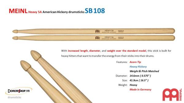 MEINL Heavy 5A American Hickory drumsticks SB108